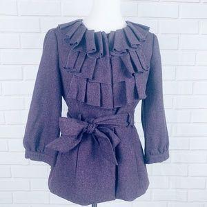 Tabatha Anthro foliage finder purple wool coat 8
